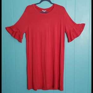 Mary Square Ruffle Sleeve Knee Length Dress-Melon